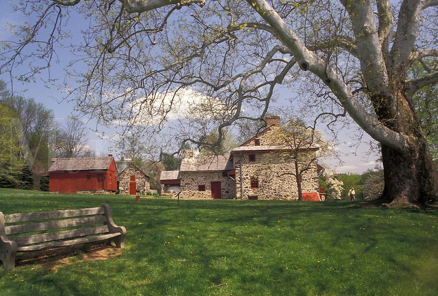 AJ3433, Brandywine River Valley, Lafayette's Headquarters, Brandywine Battlefield Park, Pennsylvania, Lafayette's Headquarters in the spring at Brandywine Battlefield Park in Chadds Ford in the state of Pennsylvania.
