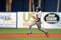Brevard County Manatees  outfielder Tyrone Taylor (15) runs the bases during a game against the Lakeland Flying Tigers on April 10, 2014 at Joker Marchant Stadium in Lakeland, Florida.  Lakeland defeated Brevard County 6-5.  (Mike Janes/Four Seam Images)