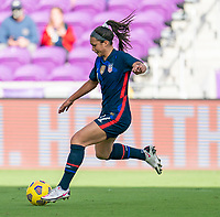 ORLANDO, FL - FEBRUARY 21: Sophia Smith #17 of the USWNT dribbles during a game between Brazil and USWNT at Exploria Stadium on February 21, 2021 in Orlando, Florida.