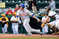St. Lucie Mets outfielder Dustin Lawley #38 during a game against the Bradenton Marauders on April 12, 2013 at McKechnie Field in Bradenton, Florida.  St. Lucie defeated Bradenton 6-5 in 12 innings.  (Mike Janes/Four Seam Images)