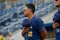 Montgomery Biscuits David Rodriguez (12) during the national anthem before a Southern League game against the Biloxi Shuckers on May 8, 2019 at MGM Park in Biloxi, Mississippi.  Biloxi defeated Montgomery 4-2.  (Mike Janes/Four Seam Images)