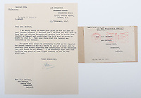 BNPS.co.uk (01202) 558833. <br /> Pic: C&TAuctions/BNPS<br /> <br /> Pictured: A letter from the Air Ministry informing Joan that Flight Sergeant Eric Redfern's grave had been discovered. <br /> <br /> The poignant archive of a tragic Battle of Britain hero has been discovered in a suitcase.<br /> <br /> Flight Sergeant Eric Redfern had been married to Joan Preston for a few weeks when he was shot down and killed in 1941.<br /> <br /> The 27 year old Hurricane pilot was ambushed by German fighters during a raid on enemy supply vessels at Le Touquet in northern France.