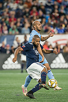 FOXBOROUGH, MA - SEPTEMBER 29: Andrew Farrell #2 of New England Revolution passes the ball during a game between New York City FC and New England Revolution at Gillettes Stadium on September 29, 2019 in Foxborough, Massachusetts.