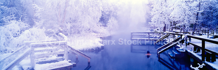 People soaking in Snow Covered Liard Hot Springs in Liard River Hot Springs Provincial Park, Northern British Columbia, Canada, in Winter - Panoramic View