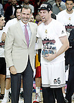 Real Madrid's Andres Nocioni celebrates with the King Felipe VI of Spain the MVP in the Euroleague Final Match. May 15,2015. (ALTERPHOTOS/Acero)