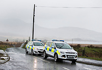 Pictured: A police road block near the scene of a helicopter crash, Trawsfynydd, Rhinog Mountains, Snowdonia, North Wales. Thursday 30 March 2017<br /> Re: Five people have been killed in a helicopter crash in north Wales.<br /> An air and land search was launched on Wednesday afternoon after the aircraft vanished en route from Luton to Dublin.<br /> The crash site was in the Rhinog mountains between Harlech and Trawsfynydd, and the bodies of all five people on board had been found by a mountin rescue team.