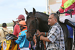 September 1, 2014:  Sharp Sensation, David Moran up, wins the grade 3 Turf Monster Handicap at Parx Racing in Bensalem, PA. Trainer is Reade Baker. Owners are Jim and Susan Hill. ©Joan Fairman Kanes/ESW/CSM