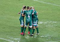 PEREIRA - COLOMBIA, 29-04-2021: Jugadores La Equidad (COL) celebran el primer gol anotado a Aragua F. C. (VEN), durante partido entre La Equidad (COL) y Aragua F. C. (VEN) por la Copa CONMEBOL Sudamericana 2021 en el Estadio Hernan Ramirez Villegas de la ciudad de Pereira. / Players of La Equidad (COL), celebrate the first scored goal to Aragua F. C. (VEN), during a match beween La Equidad (COL) and Aragua F. C. (VEN) for the CONMEBOL Sudamericana Cup 2021 at the Hernan Ramirez Villegas Stadium, in Pereira city.  VizzorImage / Pablo Bohorquez / Cont.