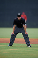 Umpire Alex Lawrie during a Gulf Coast League game between the GCL Phillies East and GCL Yankees East on July 31, 2019 at Yankees Minor League Complex in Tampa, Florida.  (Mike Janes/Four Seam Images)
