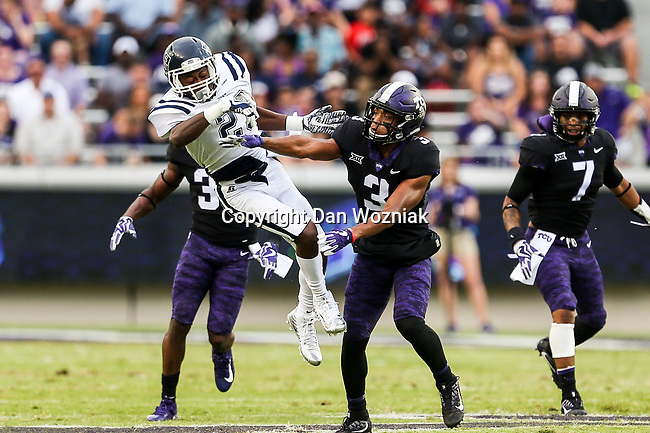 Jackson State Tigers wide receiver Romello Shumake (23) and TCU Horned Frogs safety Markell Simmons (3) in action during the game between the Jackson State Tigers and the TCU Horned Frogs at the Amon G. Carter Stadium in Fort Worth, Texas.
