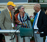 HALLANDALE BEACH, FL - March 3: Rene and Lauren Woolcott, owners of Woodslane Farm, are congratulated by trainer Thomas Albertrani after Sadler's Joy's win in the Grade II Mac Diarmida Stakes at Gulfstream Park on March 3, 2018 in Hallandale Beach, FL. (Photo by Carson Dennis/Eclipse Sportswire/Getty Images.)