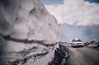 Team Groupama-FDJ teamcar up the gravel roads of the Colle delle Finestre <br /> <br /> stage 19: Venaria Reale - Bardonecchia (184km)<br /> 101th Giro d'Italia 2018