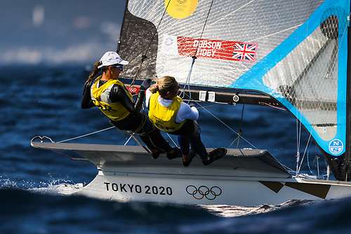 Dun Laoghaire's Saskia Tidey and Scotland's Charlotte Dobson - three top-five finishes in today's racing at the Olympic Regatta in Tokyo