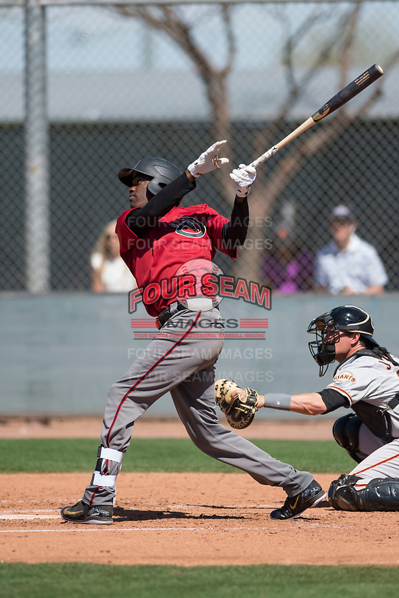 Arizona Diamondbacks outfielder Marcus Wilson (8) during a Minor League Spring Training game against the San Francisco Giants at Salt River Fields at Talking Stick on March 28, 2018 in Scottsdale, Arizona. (Zachary Lucy/Four Seam Images)