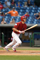 Clearwater Threshers third baseman Mitch Walding (10) at bat during a game against the Tampa Yankees on April 21, 2015 at Bright House Field in Clearwater, Florida.  Clearwater defeated Tampa 3-0.  (Mike Janes/Four Seam Images)