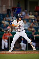 Bowling Green Hot Rods shortstop Taylor Walls (10) at bat during a game against the Peoria Chiefs on September 15, 2018 at Bowling Green Ballpark in Bowling Green, Kentucky.  Bowling Green defeated Peoria 6-1.  (Mike Janes/Four Seam Images)