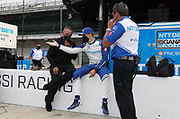 28th May 2021; Indianapolis, Indiana, USA;  NTT Indy Car Series car driver Alex Palou talks to a crew member during Miller Lite Carb Day as teams prepare for the 105th running of the Indianapolis 500