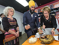 NDP leader Jagmeet Singh eats a blueberry pie as he visits Alma in the riding of Lac St-Jean on October 10, 2017.<br /> <br /> PHOTO :  Francis Vachon - Agence Quebec Presse