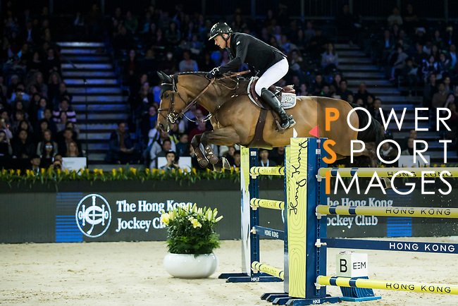 Marc Houtzager of The Netherlands riding Sterrehof's Edinus competes in the Longines Speed Challenge during the Longines Masters of Hong Kong at AsiaWorld-Expo on 10 February 2018, in Hong Kong, Hong Kong. Photo by Ian Walton / Power Sport Images