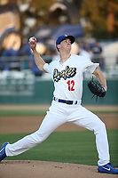 Walker Buehler (12) of the Rancho Cucamonga Quakes pitches against the Inland Empire 66ers at LoanMart Field on April 21, 2017 in Rancho Cucamonga, California. Rancho Cucamonga defeated Inland Empire 5-4. (Larry Goren/Four Seam Images)