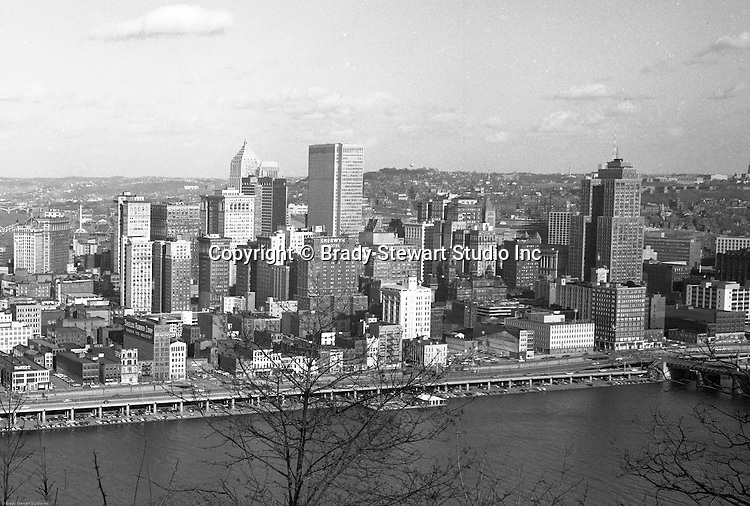 Pittsburgh PA: View of the skyline and city of Pittsburgh from Mt Washington.  Photo was taken right after the completion of the Gateway Towers.