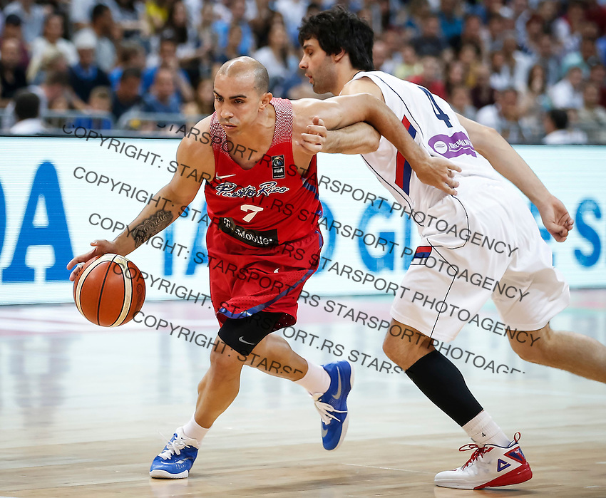 Kosarka FIBA Olympic Basketball Qualifying Tournament-FINAL<br /> Serbia v Puerto Rico<br /> Carlos Arroyo (L) and Milos Teodosic<br /> Beograd, 09.07.2016.<br /> foto: Srdjan Stevanovic/Starsportphoto©