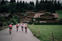 Team Trek-Segafredo leaving to the race start straight from the team hotel in Gstaad<br /> <br /> Stage 5: Gstaad > Leukerbad (155km)<br /> 82nd Tour de Suisse 2018 (2.UWT)