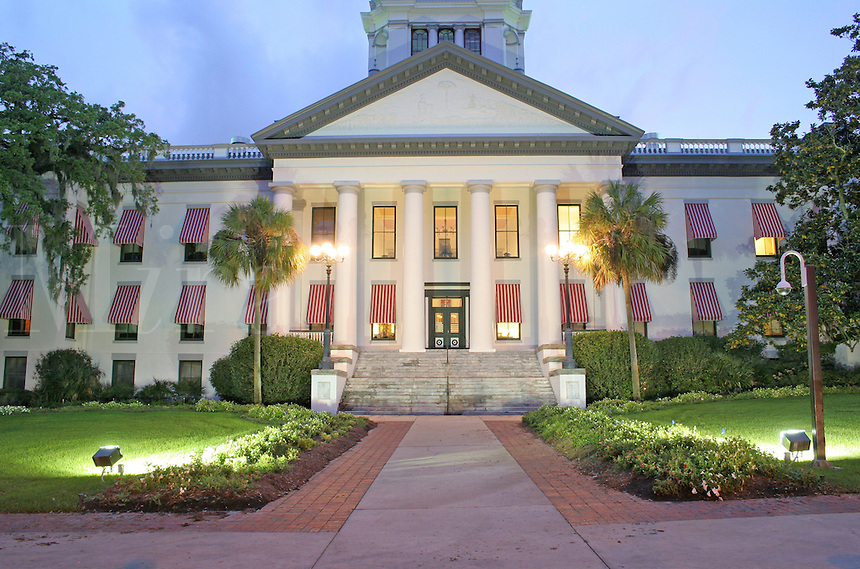 Evening lighting historic State Capitol Building Tallahassee Florida