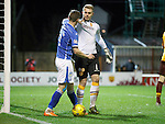 Motherwell v St Johnstone..30.12.15  SPFL  Fir Park, Motherwell<br /> Connor Ripley and Steven MacLean do a bit of shirt pulling<br /> Picture by Graeme Hart.<br /> Copyright Perthshire Picture Agency<br /> Tel: 01738 623350  Mobile: 07990 594431