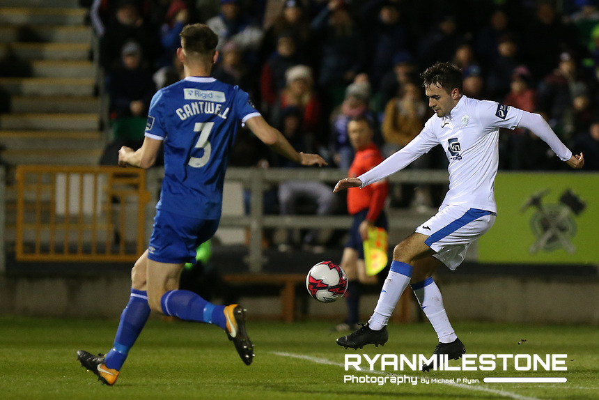 Mark Timlin of Finn Harps in action against Kilian Cantwell of Limerick during the SSE Airtricity League Promotion / Relegation Play-off Final 2nd leg game between Limerick and Finn Harps on Friday 2nd November 2018 at Markets Field, Limerick. Mandatory Credit: Michael P Ryan.