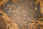 Ancient rock art of Nevada within Valley of Fire State Park (Newspaper Rock panel)