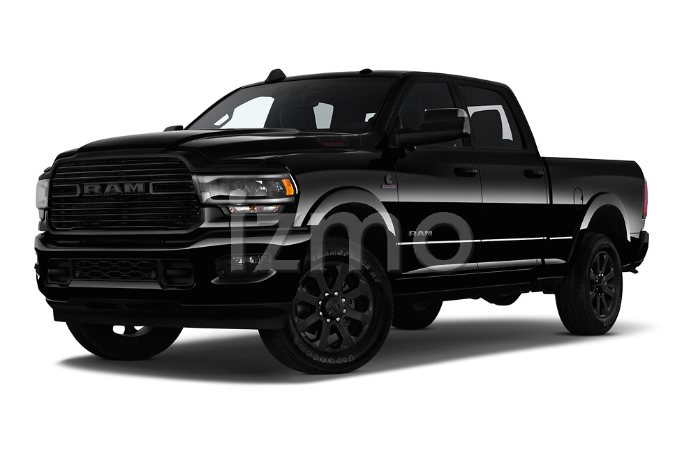 Stock pictures of low aggressive front three quarter view of a 2019 Ram Ram-2500  Laramie 4 Door Pick Up