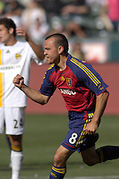Chris Brown celebrates RSL's first goal of the match. The Los Angeles Galaxy defeated Real Salt Lake, 3-2, at the Home Depot Center in Carson, CA on Sunday, June 17, 2007.