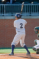 Derek Toadvine (2) of the Kent State Golden Flashes at bat against the Charlotte 49ers at Robert and Mariam Hayes Stadium on March 8, 2013 in Charlotte, North Carolina.  The 49ers defeated the Golden Flashes 5-4.  (Brian Westerholt/Four Seam Images)