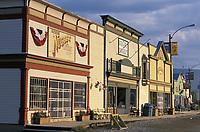 Downtown street in the historic gold mining city of Dawson, Yukon Territory, Canada