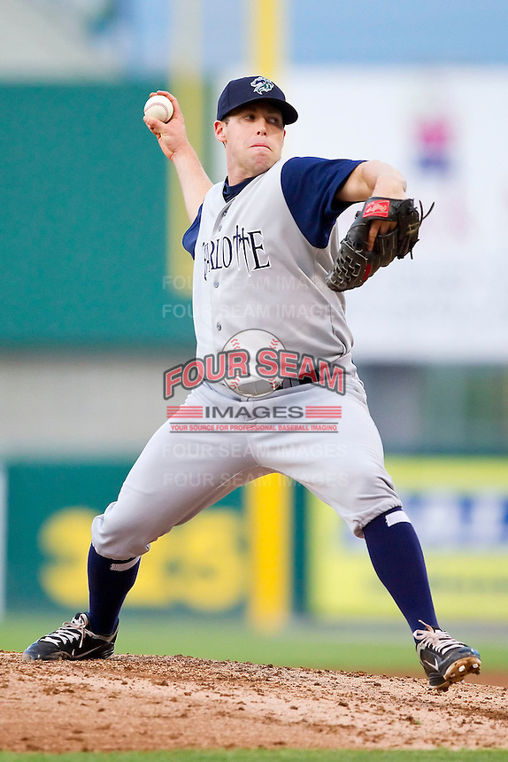 Starting pitcher Dylan Axelrod #23 of the Charlotte Knights in action against the Pawtucket Red Sox at McCoy Stadium on June 14, 2011 in Pawtucket, Rhode Island.  The Knights defeated the Red Sox 4-2 in 11 innings.    Photo by Brian Westerholt / Four Seam Images