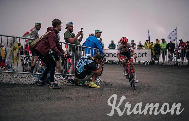 Julien Bernard (FRA/Trek-Segafredo) up the brutal Col du Portet (HC/2250m/16km at 8.7%/Souvenir Henri Desgrange) in this historically short stage (only 65km)<br /> <br /> Stage 17: Bagnères-de-Luchon > Saint-Lary-Soulan (65km)<br /> <br /> 105th Tour de France 2018<br /> ©kramon