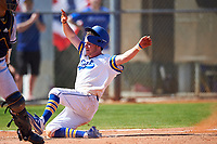 South Dakota State Jackrabbits right fielder Logan Holtz (6) slides home during a game against the FIU Panthers on February 23, 2019 at North Charlotte Regional Park in Port Charlotte, Florida.  South Dakota State defeated FIU 4-3.  (Mike Janes/Four Seam Images)