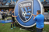SAN JOSE, CA - FEBRUARY 29: Oswaldo Alanis #4 of the San Jose Earthquakes bangs the drum during a game between Toronto FC and San Jose Earthquakes at Earthquakes Stadium on February 29, 2020 in San Jose, California.