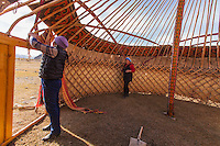 Asia Mongolia, Altai mountain,Saikhsai, Build up of a mongolian ger