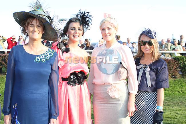 Best Dressed Lady Finalists, Clare Heneghan, Monasterboice, Linda Callaghan, Ardee, Wendy McKay Wogan, Drogheda and Olivia Duff from Kells at the Bellewstown Races..Picture Jenny Matthews/Newsfile.ie