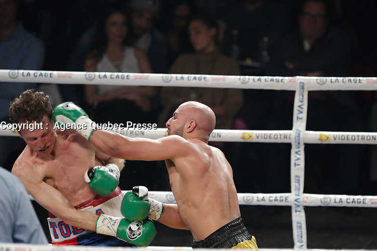 Mian Hussain vs Tobia Guiseppe Loriga fight in the Super Welter category,  March 12,2016.<br /> <br /> Photo : Pierre Roussel - Agence Quebec Presse