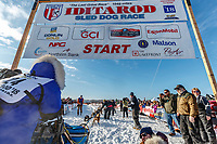 Anja Radano leaves the start line during the Official Re-Start of the 2018 Iditarod Sled Dog Race in Willow, Alaska on March 04, 2018. <br /> <br /> Photo by Jeff Schultz/SchultzPhoto.com  (C) 2018  ALL RIGHTS RESERVED