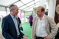 Tuesday 27 May 2014, Hay on Wye, UK<br /> Pictured: AM John Griffiths talks to National Trust Director for Wales, Justin Albert <br /> Re: The Hay Festival, Hay on Wye, Powys, Wales UK.