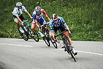 Polka Dot Jersey David de la Cruz (ESP) UAE Team Emirates lead Thibaut Pinot (FRA) Groupama-FDJ and Alexey Lutsenko (KAZ) Astana descend during Stage 5 of Criterium du Dauphine 2020, running 153.5km from Megeve to Megeve, France. 16th August 2020.<br /> Picture: ASO/Alex Broadway | Cyclefile<br /> All photos usage must carry mandatory copyright credit (© Cyclefile | ASO/Alex Broadway)