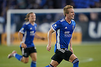 SAN JOSE, CA - MAY 1: Jackson Yueill #14 of the San Jose Earthquakes celebrates scoring during a game between D.C. United and San Jose Earthquakes at PayPal Park on May 1, 2021 in San Jose, California.