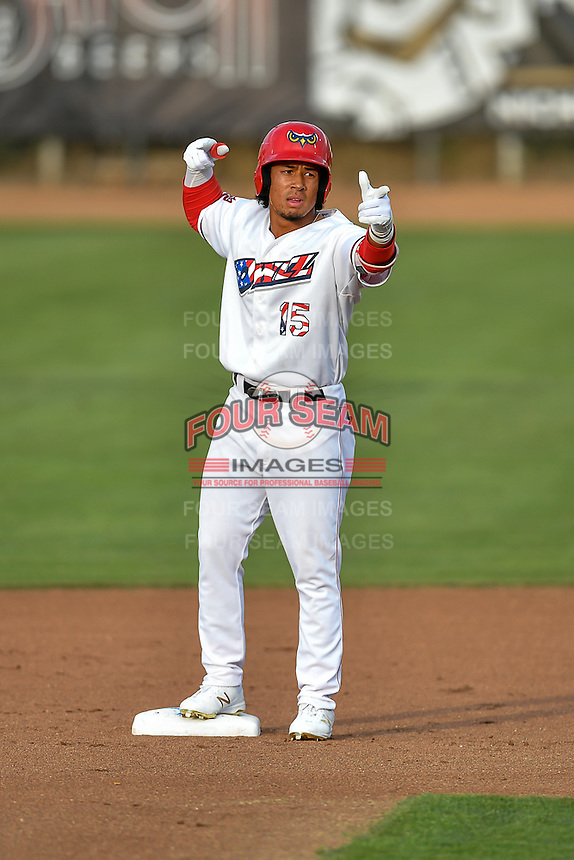 Pioneer League All-Star Jahmai Jones (15) of the Orem Owlz gestures to the fans from second base against the Northwest League All-Stars at the 2nd Annual Northwest League-Pioneer League All-Star Game at Lindquist Field on August 2, 2016 in Ogden, Utah. The Northwest League defeated the Pioneer League 11-5. (Stephen Smith/Four Seam Images)