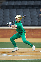 Spencer Myers (2) of the Notre Dame Fighting Irish follows through on his swing against the Wake Forest Demon Deacons at David F. Couch Ballpark on March 10, 2019 in  Winston-Salem, North Carolina. The Fighting Irish defeated the Demon Deacons 8-7 in 10 innings in game two of a double-header. (Brian Westerholt/Four Seam Images)