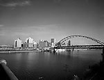 Pittsburgh PA:  View of Gateway Center and Fort Pitt Bridge construction from the Point Bridge.