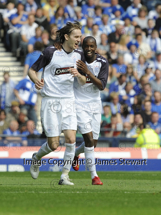 24/05/2008   Copyright Pic: James Stewart.File Name : sct_jspa33_qots_v_rangers.DAMARCUS BEASLEY CELEBRATES WITH SASA PAPAC AFTER SCORING RANGERS SECOND.James Stewart Photo Agency 19 Carronlea Drive, Falkirk. FK2 8DN      Vat Reg No. 607 6932 25.Studio      : +44 (0)1324 611191 .Mobile      : +44 (0)7721 416997.E-mail  :  jim@jspa.co.uk.If you require further information then contact Jim Stewart on any of the numbers above........